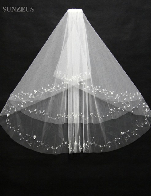Short Two Layers Bling Bling Beaded Bridal Veil Attractive Fashion Simple Cheap White Wedding Veil with Comb S162