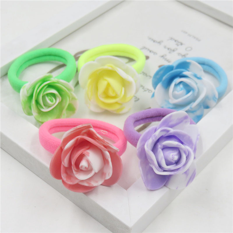 10PCS/LOT Pretty Chinese Style Rose Flower Elastic Hair Bands For Girl Handmade Hair Tie Scrunchy Kid Hair Accessories For Women