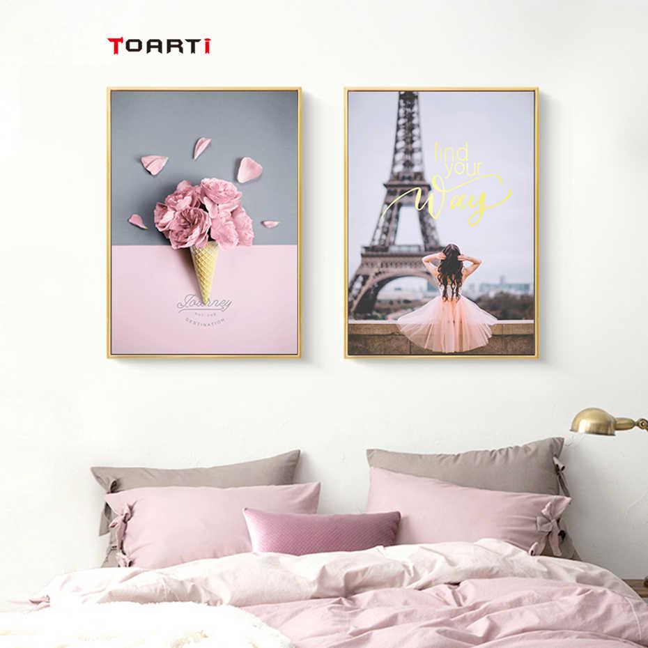 modern pink Landscape wall art painting Scandinavian rose Flower poster print minimalist picture Nordic Living Room Home Decor