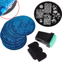 10Pcs Nail Stamper Plate Set Nails Art Image Stamp Stamping Transfer Scraper Plates Print Manicure Template