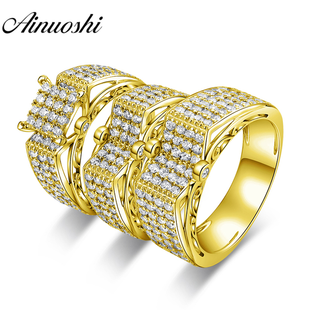 AINUOSHI 12.8g Real Gold TRIO Rings Set Engagement Jewelry 10K Yellow Gold Couple Wedding Rings Male Square Cluster Rings Set