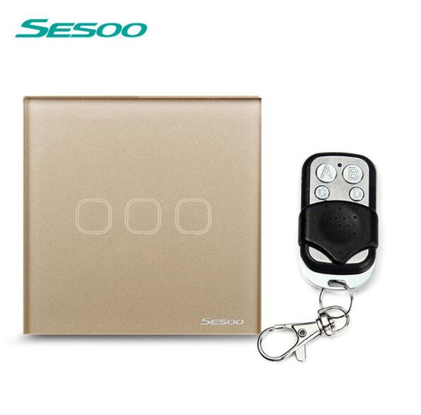 EU/UK Standard SESOO Remote Control Switches 3 Gang 1 Way,Wireless remote control wall touch switch,Crystal Glass Switch Panel eu uk standard sesoo 3 gang 1 way remote control switches wireless remote control touch switch white crystal glass switch panel