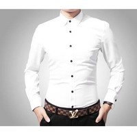 Men's long sleeve shirt white cotton type business fashion, cultivate one's morality men's shirts white formal wear