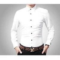 Mannen lange mouwen witte katoenen type business mode, cultiveren moraal mannen shirts wit formele slijtage