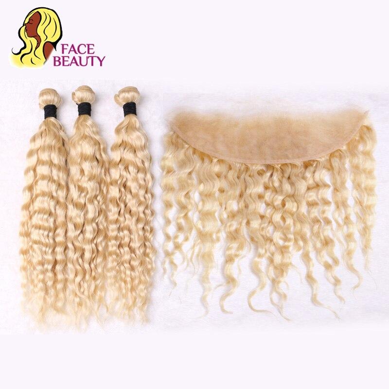Facebeauty блондинка перуанский глубокая волна Связки с закрытием 613 человеческих волос 13x4 предварительно сорвал закрытия шнурка фронтальная и ...