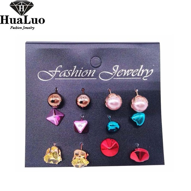 fb8eb48e8 HUALUO 12 Pcs/Set New Colorful Stud Earrings Set For Women Piercing  Simulated Pearl Flower Earrings Hear Crystal Earring Gift
