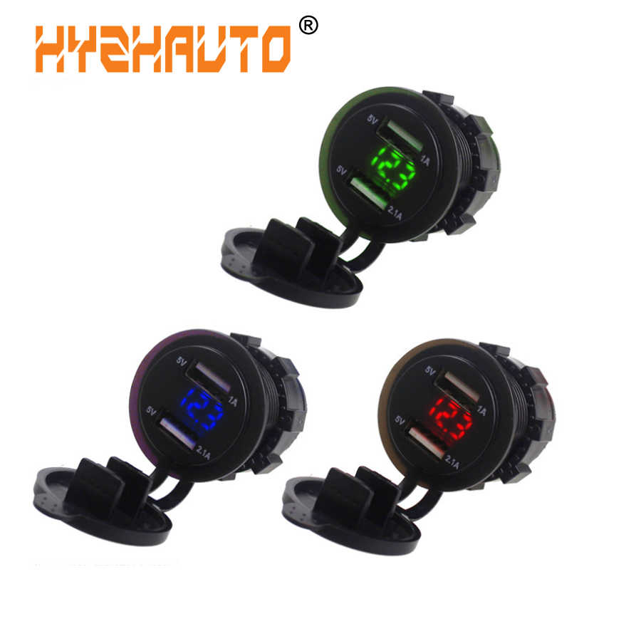 HYZHAUTO 5V 3.1A Dual USB Socket Car Charger Adapter with LED Digital Voltmeter For Phone Pad Tablet Boat Motorcycle 1PCS 12-24V