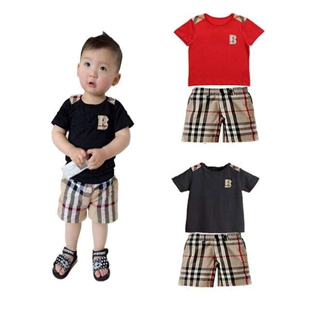 2015 New Hot Retail Kids Letter Print Shorts Suit Brand England Style Boys Plaid Cotton Short Sleeve T Shirt Clothing Set, C118