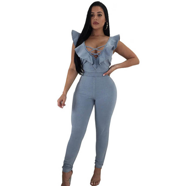 1268d66b7392 New Arrival 2017 sex jumpsuits jeans European style Women Jumpsuit Denim  Overalls Shirt Rompers Girls Pants Jeans S-XL Bodysuit