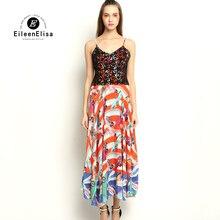Women Silk Long Dress 2017 Brand Runway Spaghetti Strap Dress Women High Waist Dress Summer