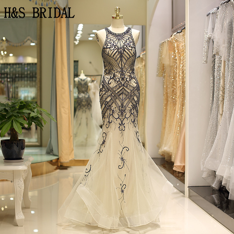 H S BRIDAL Champagne Sleeveless Evening Dress Mermaid Luxury Beading evening dresses vestidos de fiesta party