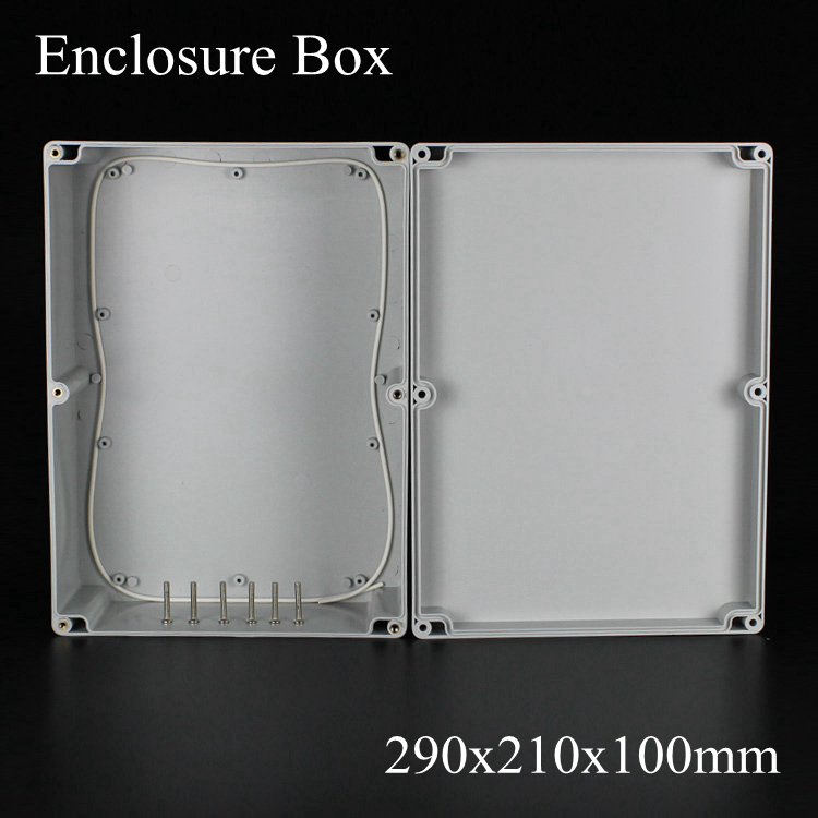 (1 piece/lot) 290*210*100mm Grey ABS Plastic IP65 Waterproof Enclosure PVC Junction Box Electronic Project Instrument Case
