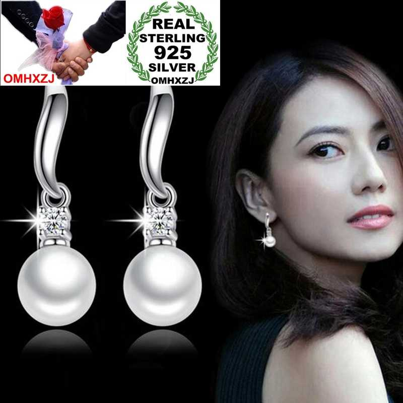 OMHXZJ Wholesale Jewelry Fashion joker OL Style for Woman Gift Soft Beauty Pearl 925 Sterling Silver Tassel Stud Earrings YS263