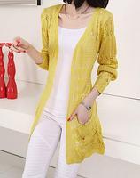 Primavera autunno Cardigan nuovo allentato hollow knit cardigan moda coltivazione selvaggia a maniche lunghe Maglione giacca 102216