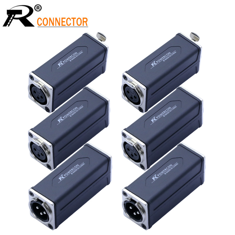 1PC R Connector Silver 3PIN XLR Straight Adapter High Quality XLR Panel Mount Connector Male To Female Extension Adapter