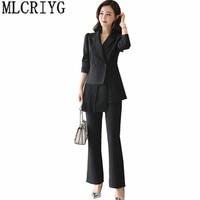 2020 Long Trouser Suit For Women Suits Work Office Lady Pants + Blazer 2 Pieces Set Spring Autumn Clothes Pantsuit Outfits YQ107