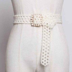 Image 1 - SeeBeautiful 새로운 패션 2020 여름 가을 남자 만든 화이트 진주 짠 중공업 와이드 벨트 스퀘어 핀 버클 거들 여성 A063