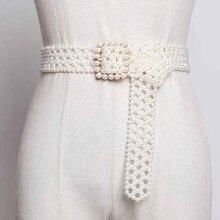 SeeBeautiful חדש אופנה 2020 קיץ סתיו איש מתוצרת לבן פנינה ארוג חלול ארוך רחב חגורת כיכר פין אבזם מחוך נשים A063