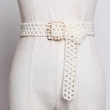 SeeBeautiful New Fashion 2020 Summer Autumn Man made White Pearl Woven Hollow Long Wide Belt Square Pin Buckle Girdle Women A063