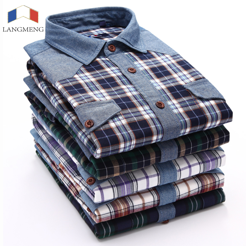 Langmeng New men fashion long sleeve Shirt big size plaid shirts turn down collar good quality men casual shirts plus big size