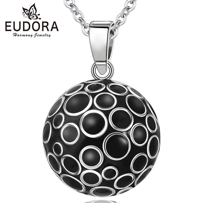 Eudora 22mm Black Harmony Ball Pregnancy Chime Necklace Pendant Mexcian Bola Angel Caller Women Jewelry N14NB296H