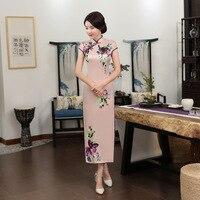Hot Sale Pink Chinese Women S Summer Satin Long Dress Vintage Printed Cheongsam Traditional Flower Qipao