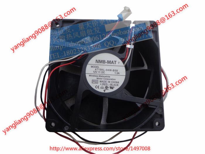 NMB-MAT 4715KL-04W-B59, P53 DC 12V 1.3A, 120x120x38mm  80mm Server  Square fan nmb mat 3110kl 04w b49 b02 b01 dc 12v 0 26a 3 wire server square fan