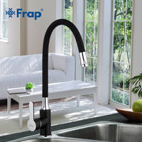 Frap Business Style Black Silica Gel Nose Any Direction Kitchen Faucet Cold And Hot Water Mixer