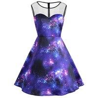 Himanjie Print Stars Clouds Nebula Galaxy Lovers Mesh Sleeveless Party Dress Women 2017 Autumn Pinup Vintage