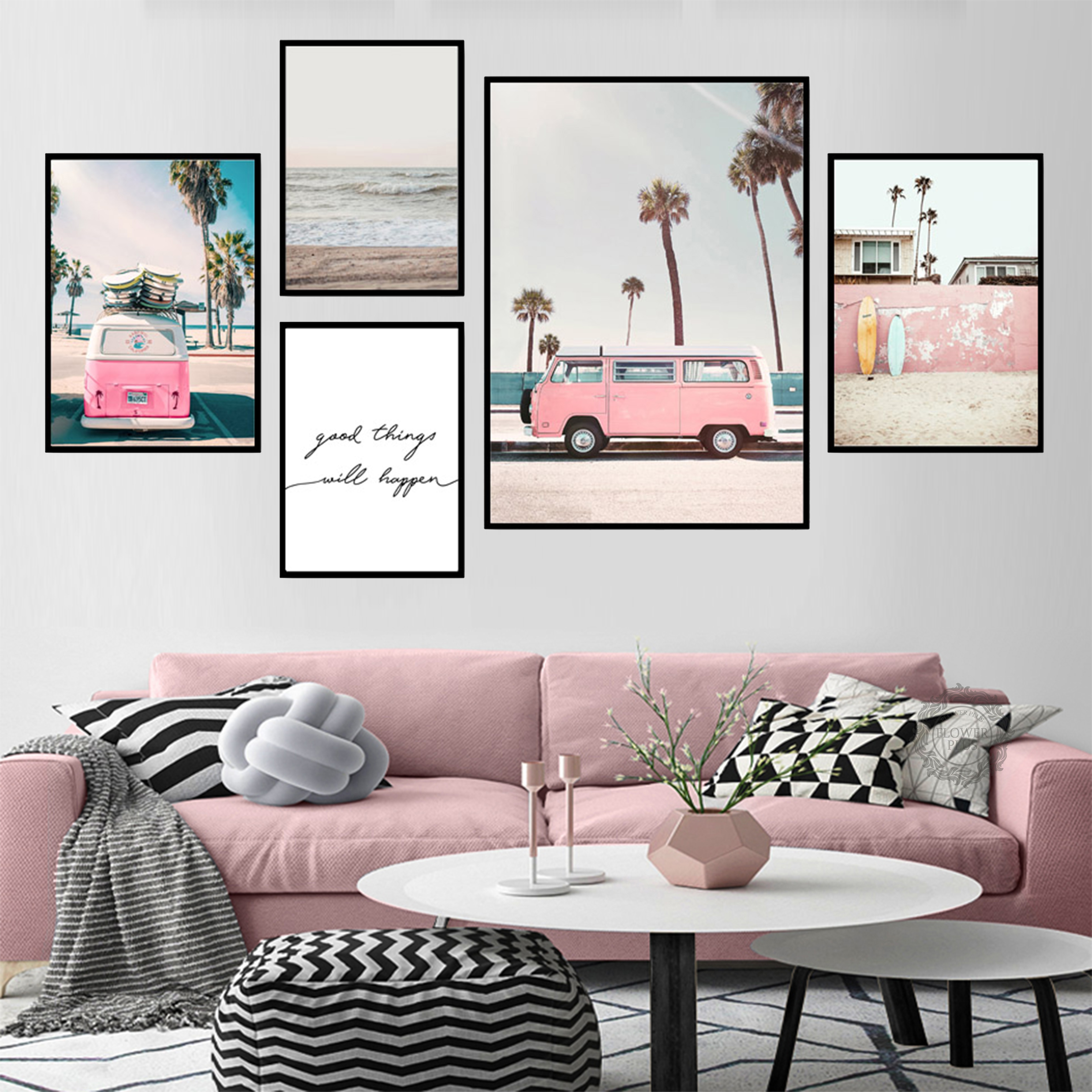 Bus Sky Sea Beach Nordic Posters For Living Room Wall Art Coconut Palm Canvas