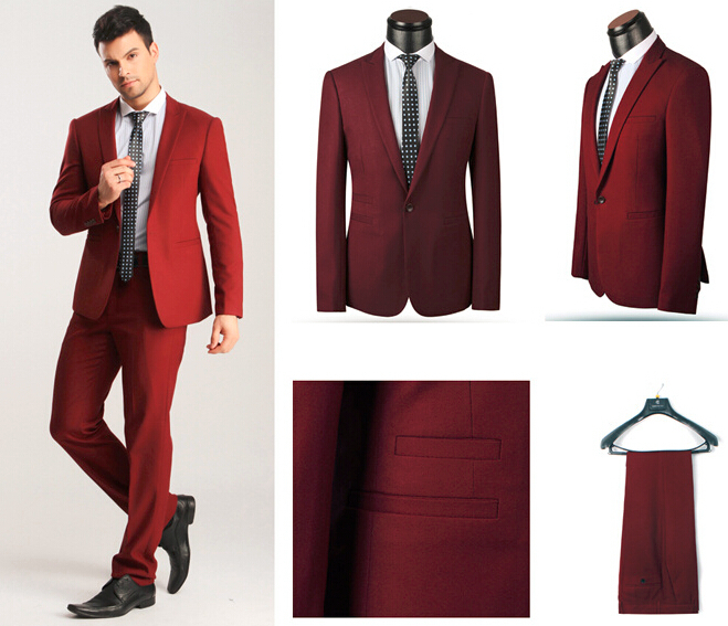 Aliexpress.com : Buy Wine Red Suits Men One Button 2 piece Sky ...