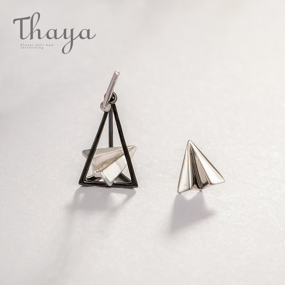 Thaya Paper Airplane Earrings Triangular S925 Silver Ear Stud For Girls Easy Elegant Dream Easy Jewellery Customized