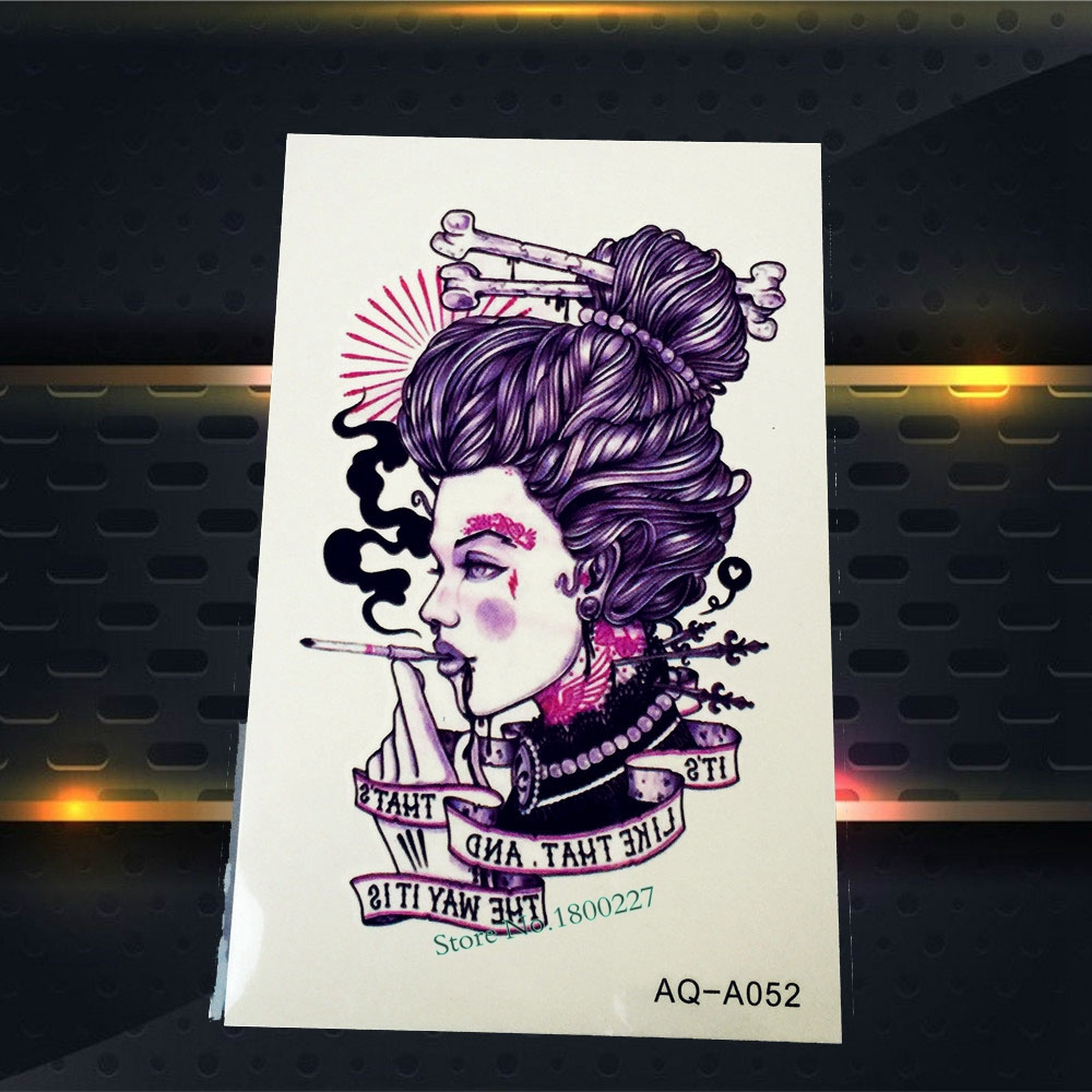 1PC Punk Girl Designs Purple Color Fake Flash Removable Tattoo Body Arm Armband PAQ-A052 Cool Men Rock Tattoo Self Adhesive