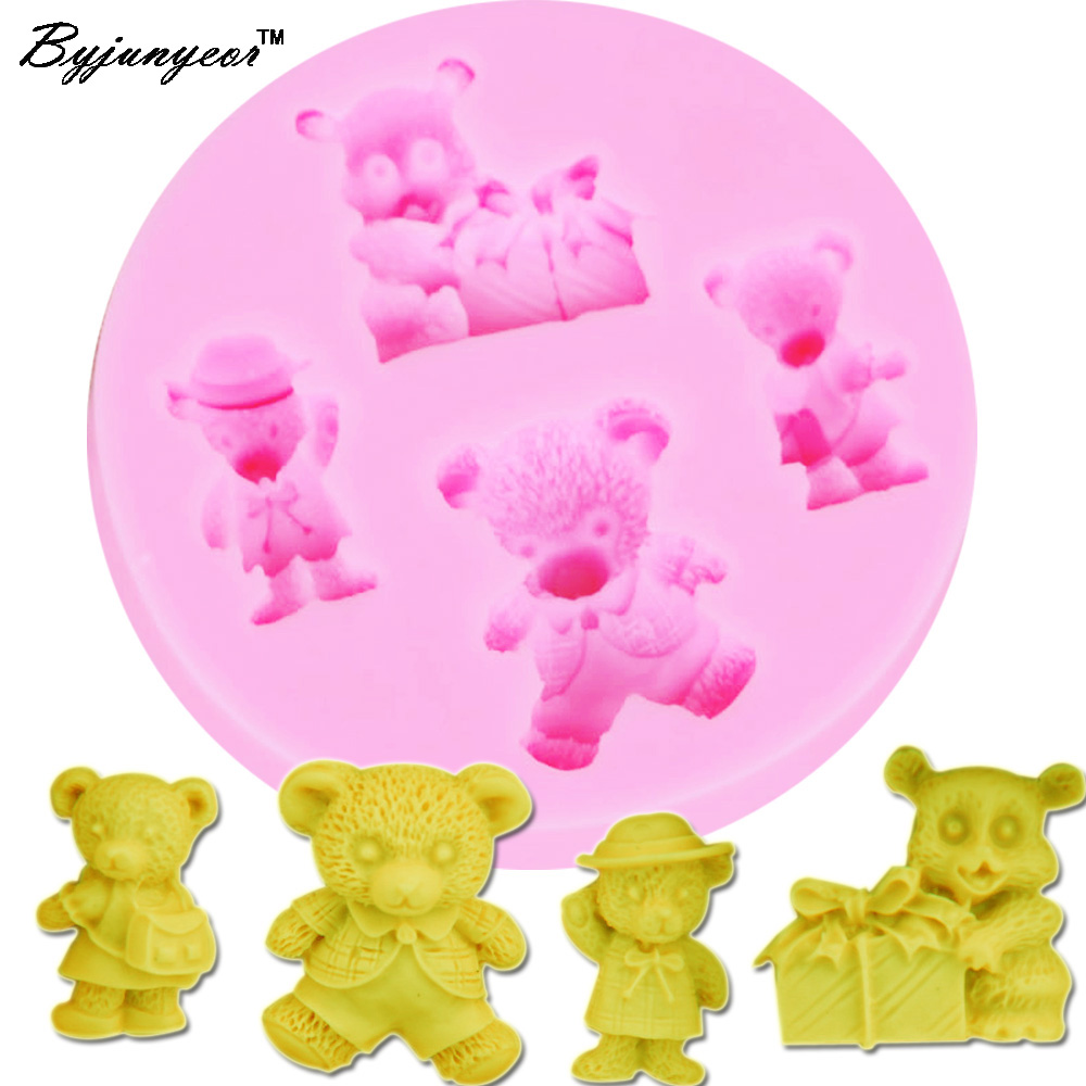 Beautiful Byjunyeor M221 Cute Bear Cub Shaped 3d Cake Mold Silicone Fondant Mold Cute Cubs Cupcake Mold Sugar Paste Baking Mould Bakeware Up-To-Date Styling Bakeware