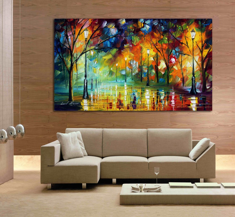 Large Wall Pictures For Living Room: 100% Hand Drawn (city At Night 3) Knife Painting Modern
