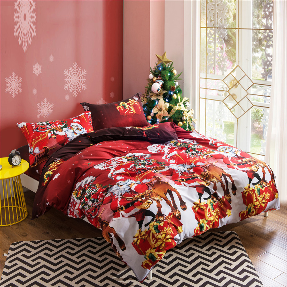 WAZIR Christmas 3D Bedding Set Happy Santa Claus Happy Gift 4pcs Duvet Cover Pillowcases Bed Sheet Home Textile Bedclothes in Bedding Sets from Home Garden