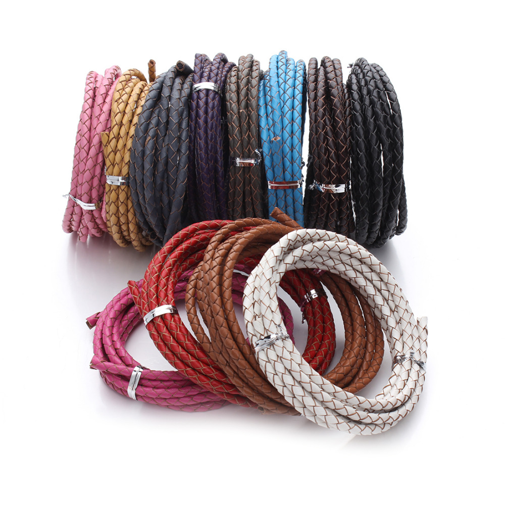 XINYAO 2m/lot Dia 3mm 4mm Genuine Braided Leather Cord Round Leather Rope Thread For DIY Necklace Bracelet Jewelry Making F1104 artificial leather rope round collarbone necklace