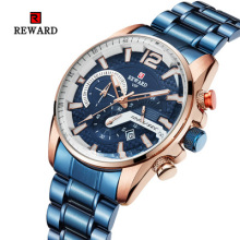 цена REWARD 2019 Hot Brand Luxury Men's Waterproof Calendar Three-eye Timing Multi-function Steel Strap Sports Men Watch montre homme онлайн в 2017 году