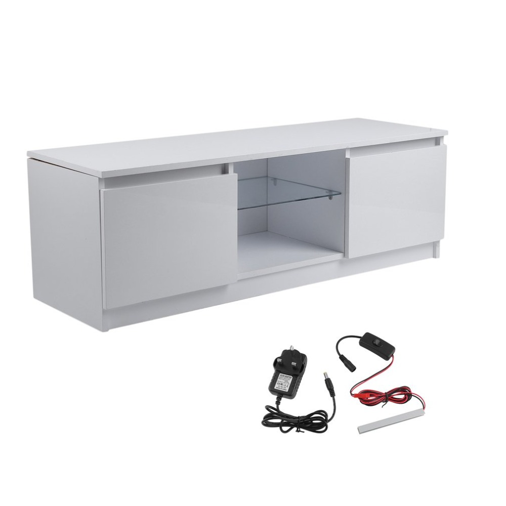 High Glossy TV Cabinet Contemporary TV Stand Unit Home Entertainment Decoration Furniture White 120x39x40cm