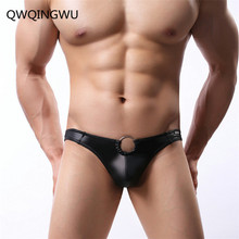 Sexy Underwear Men Briefs Shorts Patent Leather Hollow Out Underpants Male U Convex Pouch Low Waist Panties Cueca Briefs