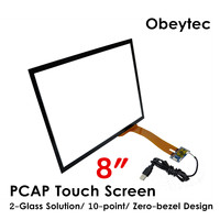 Obeytec 8 Projected Capacitive Touchscreen, Wide screen, USB/I2C Controller, 3 mm Cover glass for industrial area, Driver free