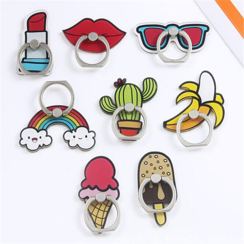 UVR Cosmetic Finger Ring Banana Cactus Mobile Phone Stand Holder Ice Cream Smartphone Holder Stand For Iphone Xiaomi All Phone