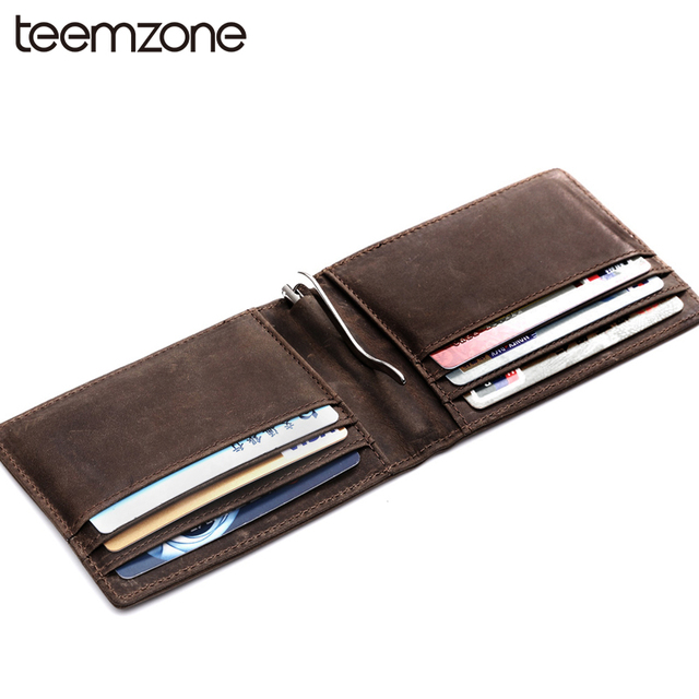 7c9a69e49526 Business Genuine Leather Fashion Mens Money Clip Slim Bifold Wallets Brown  ID Credit Card Bag Leather