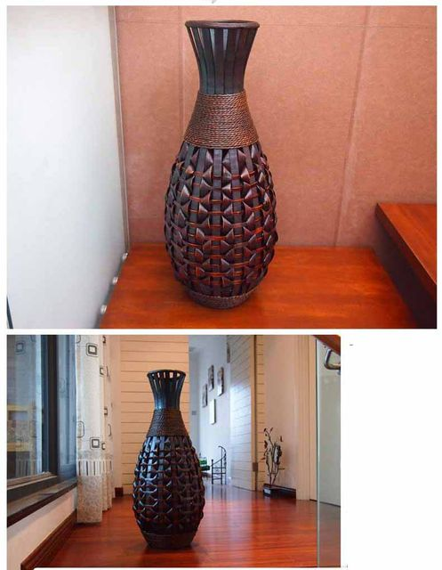 Online Shop Retro Large Floor Vase Antique Big Bamboo Wood Floor