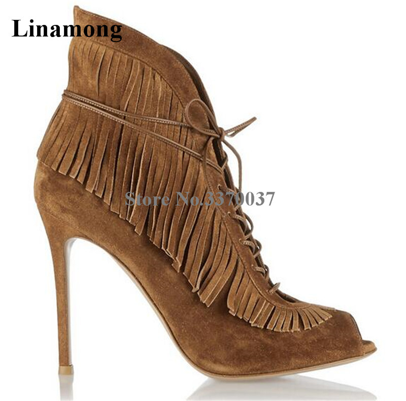 Brand Design Women Fashion Peep Toe Suede Leather Tassels Short Boots Cut-out Lace-up Fringes High Heel Ankle BootsBrand Design Women Fashion Peep Toe Suede Leather Tassels Short Boots Cut-out Lace-up Fringes High Heel Ankle Boots