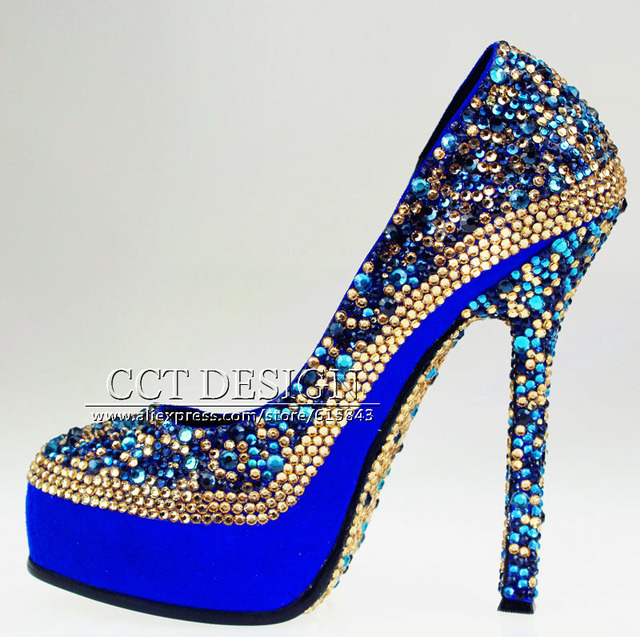 Women Gold Royal Blue Rhinestones Party Shoes Platforms Crystals ...