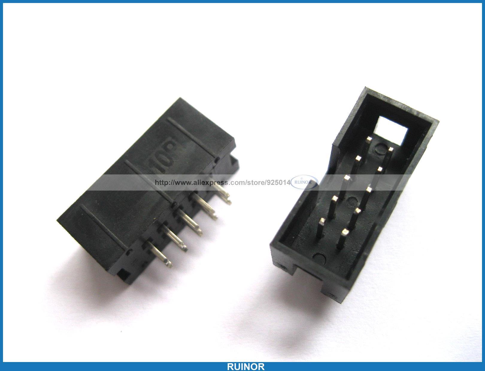 300 Pcs 10 Pin Male Box Header Connector 2.54mm New