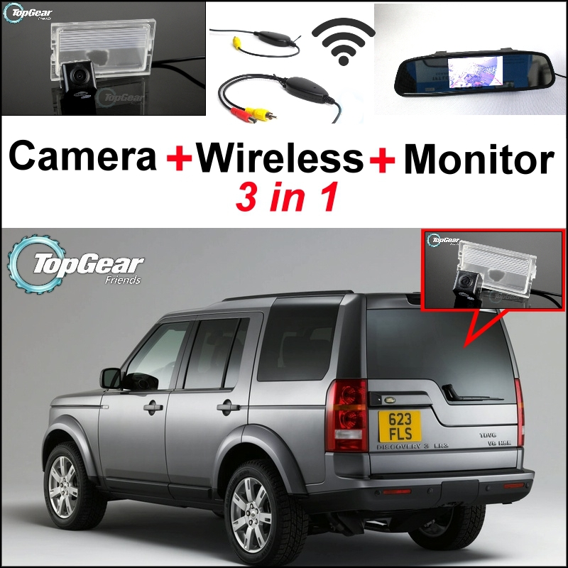 3in1 Special Rear View Camera + Wireless Receiver + Mirror Monitor DIY Parking System For Land For Rover Discovery 3/4 2005~2014 3 in1 special rear view camera wireless receiver mirror monitor back up parking system for citroen ds3 ds 3 2009 2015