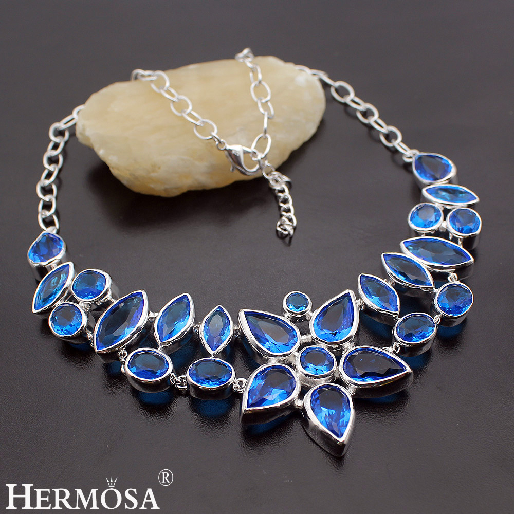 Hermosa Jewelry Huge Lncredible Blue 925 Sterling Silver Necklace 20 inches