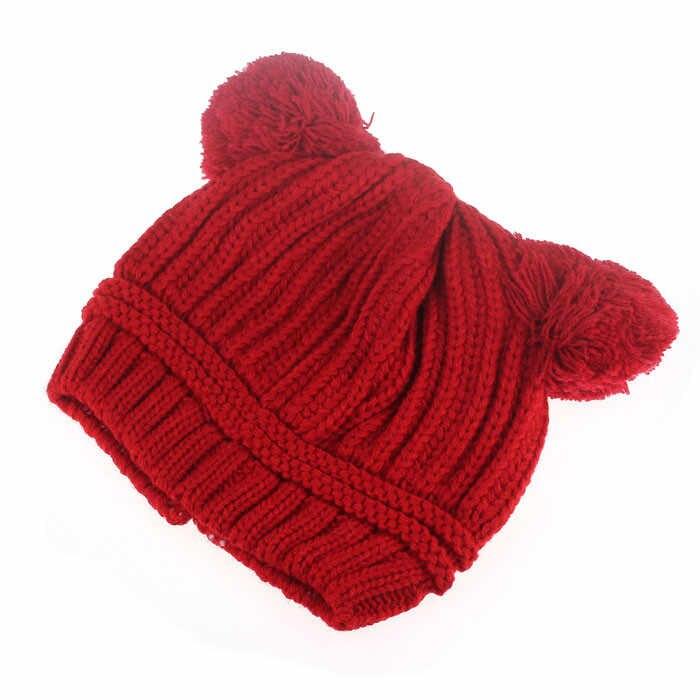 แฟชั่นแบรนด์ฤดูใบไม้ร่วงผู้ชนะเด็กน่ารักเด็ก Dual Balls ฤดูหนาวที่อบอุ่นหมวกถักหมวก Beanie ขายส่งและ DROP การจัดส่ง